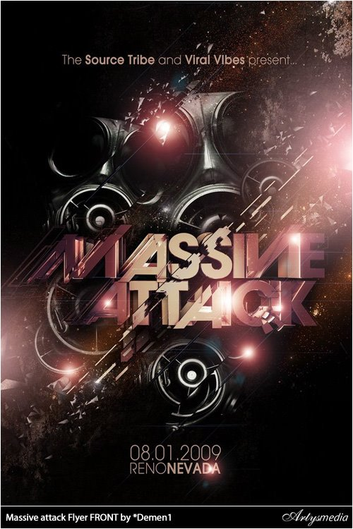 Massive attack Flyer FRONT by *Demen1