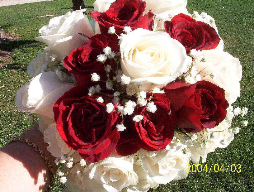 Jardinbestgarden Ramo de Novia Crema y Rojo Rosas Ecuatorianas