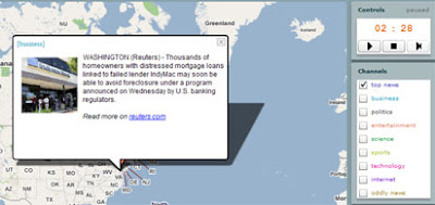 screenshot of the breaking news map
