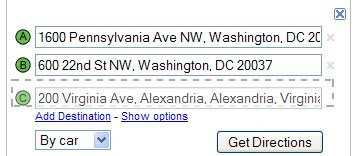 screenshot of google driving directions