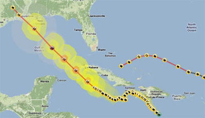 the path of Hurricane Gustav