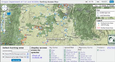 Maps mania big game hunting with google maps for Oregon game and fish