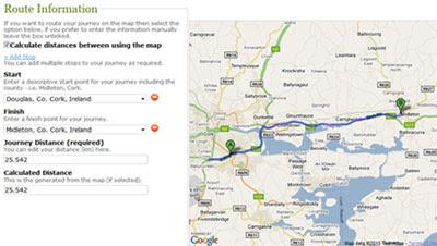 Maps Mania Irish Mileage Calculator Uses Google Maps
