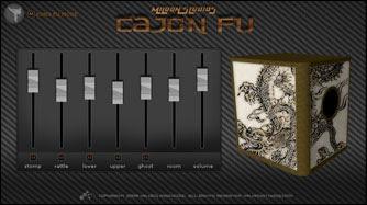 Interfaz gráfica de usuario del software Cajon Fu de Mildon Estudios: Caja de ritmos VST