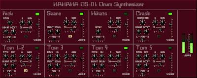 Interfaz gráfica de usuario del software sintetizador Hahaha DS-01 con su color morado
