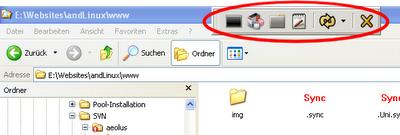Interfaz gráfica de usuario de esta aplicación sobre un circulo rojo