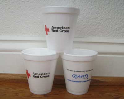 Three Red Cross cups