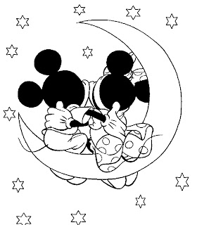 Mickey and Minnie Valentine Coloring Pages