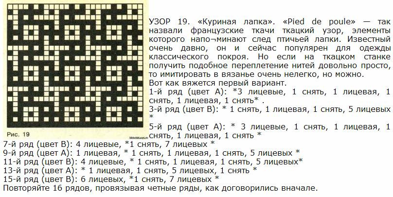 Вязание ленивых жаккардовых узоров схемы 616