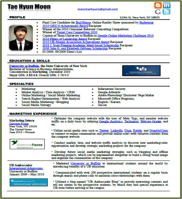 innovative marketer new resume format in the social media era