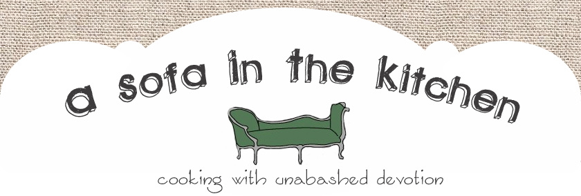 a sofa in the kitchen
