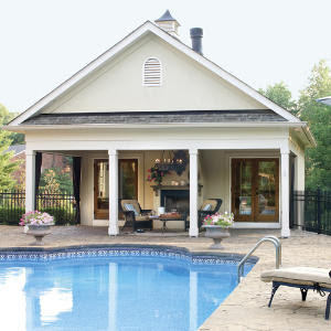 Farmhouse plans pool house plans for Outdoor pool house designs