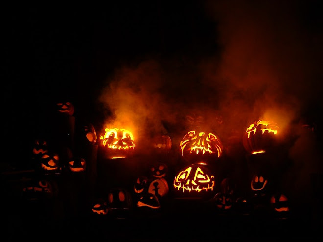Jack-o-lanterns amidst the fog...