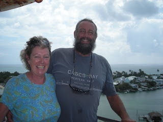 us at top of Hope Town lighthouse