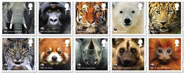 set of 10 animal stamps issued for the 50th ann of WWF.