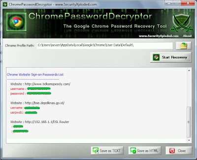 Recovery Password di Google Chrome
