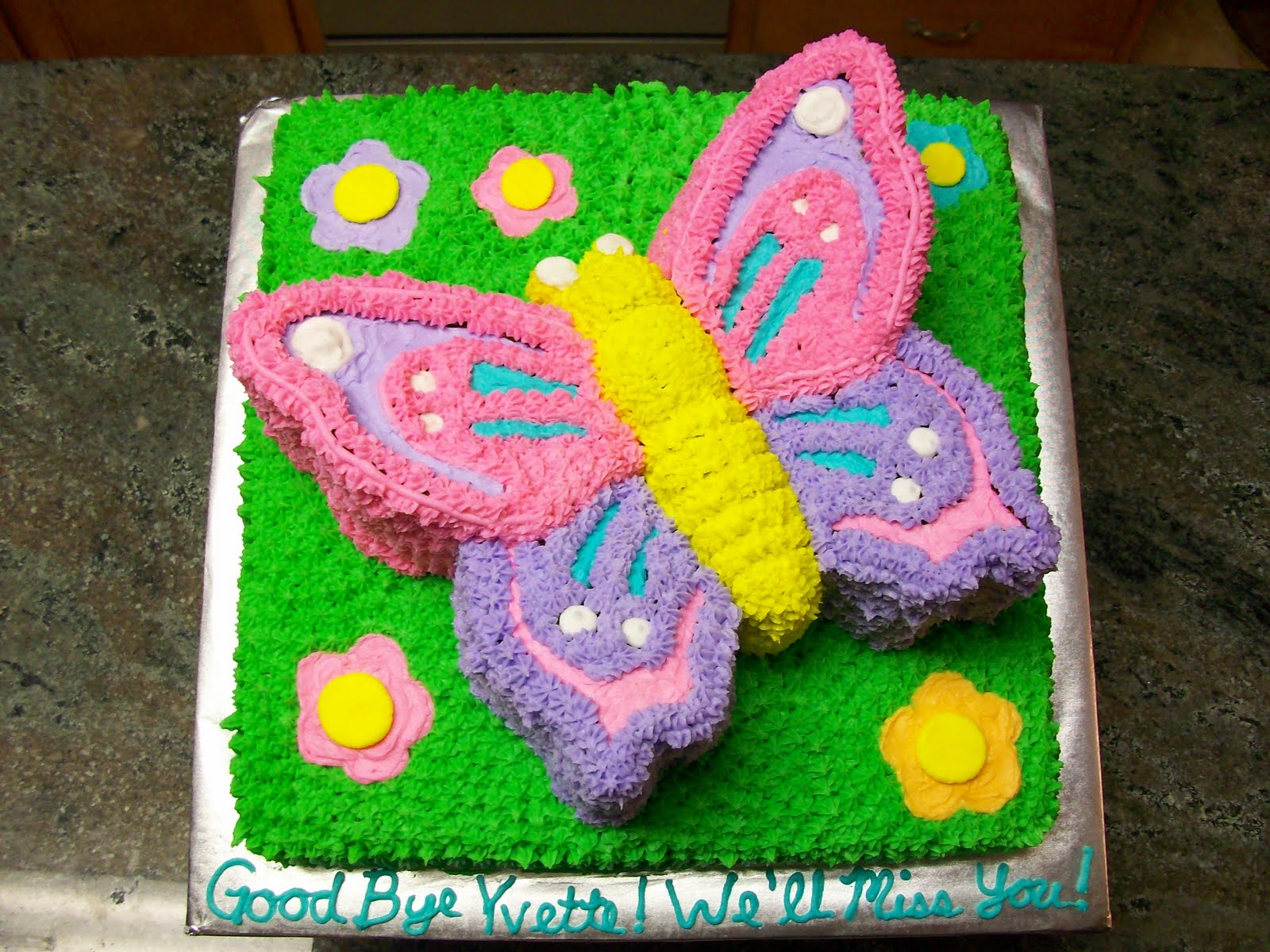 this cake was made using the butterfly cake pan from nordicware and