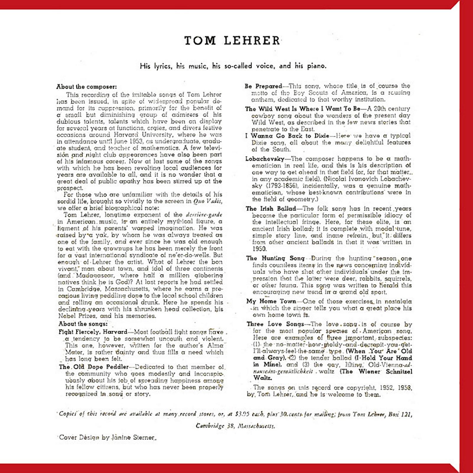 Tom Lehrer Songs By Tom Lehrer