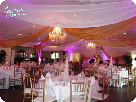This summer we installed and draped elegant custom backdrops for two bridal