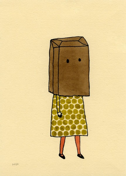 GIRL WITH PAPER BAG OVERHEAD
