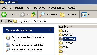 Carpeta Macromed en System32