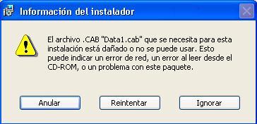 El archivo .CAB Data1.cab que necesita esta instalación está dañado o no se puede usar