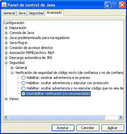 Panel de control de Java: Pestaña Avanzado