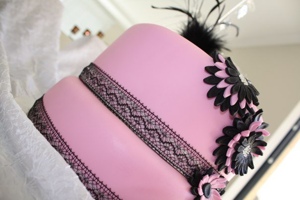 Elegant Pink And Black Theme 40th Birthday Cake