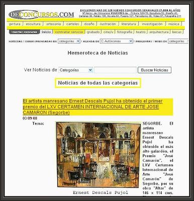 SEGORBE-DE CONCURSOS-PINTURA-JOSE CAMARON-PREMIO-ERNEST DESCALS