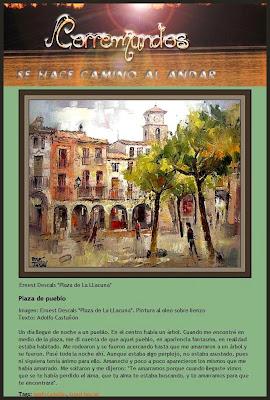 LA LLACUNA-ANOIA-PINTURAS-PLAZA-PUEBLO-ERNEST DESCALS