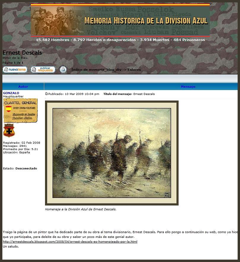 DIVISION AZUL-MEMORIA HISTORICA-BLAU-ERNEST DESCALS