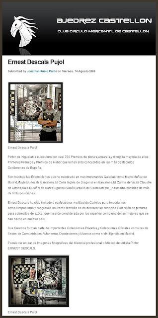 AJEDREZ-ESCACS-ERNEST DESCALS-CASTELLON DE LA PLANA-CHESS-PREMIO PINTURA