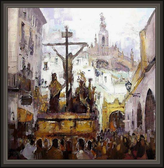 SEMANA SANTA -SEVILLA-PINTURAS-RELIGIOSAS-ERNEST DESCALS