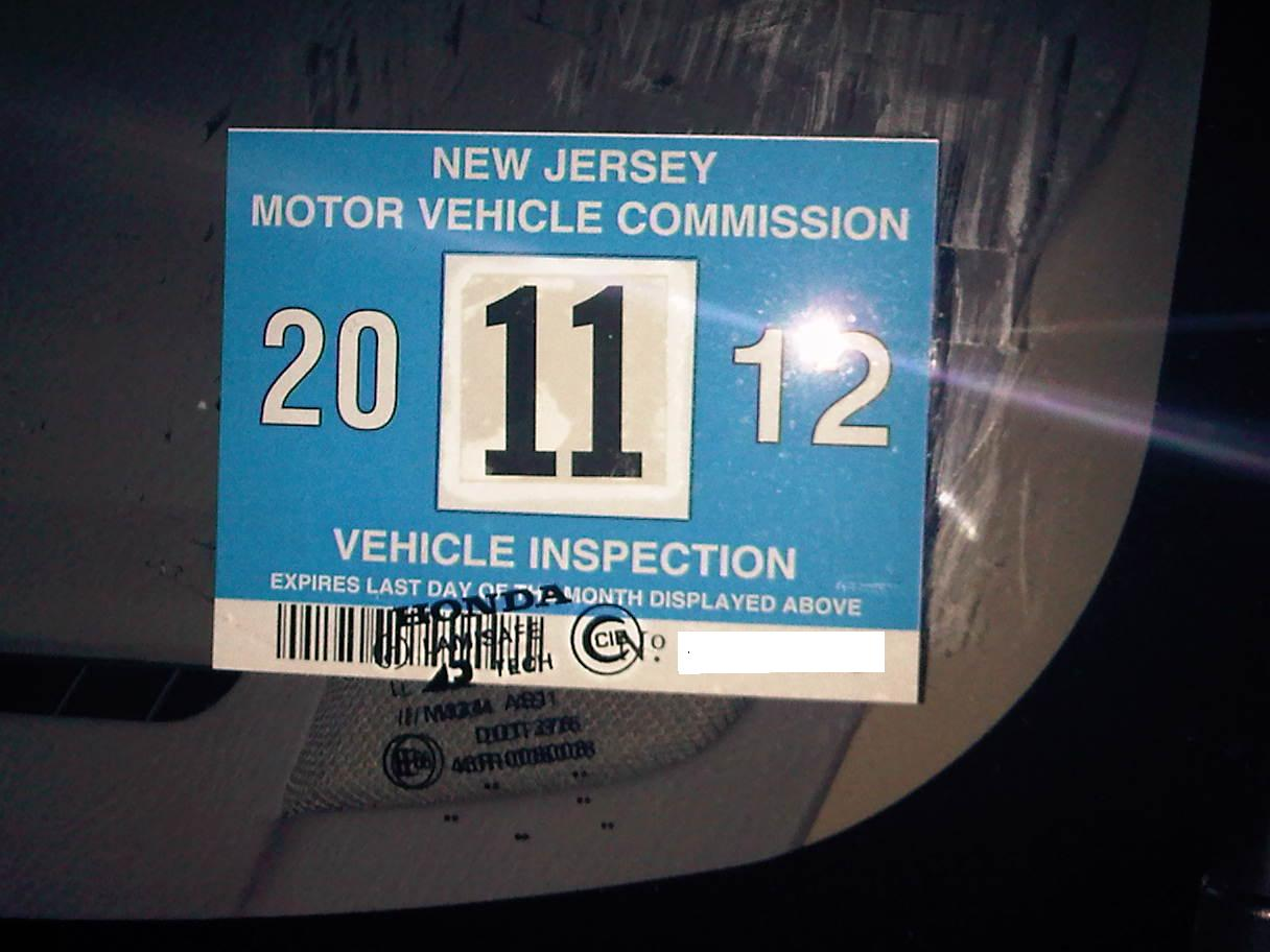 New car no inspection sticker nj 11