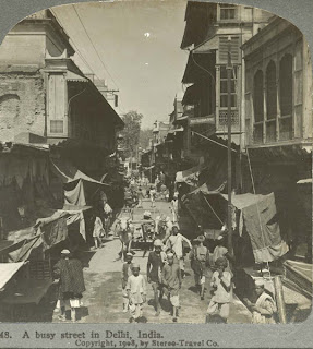 India 100 years ago: A busy street in Delhi, India