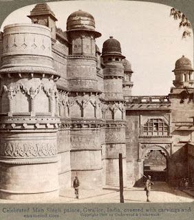 India 100 years ago: Celebrated Man Singh palace, covered with carvings and enameled tiles - Gwalior, India