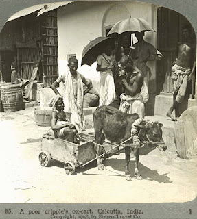 India 100 years ago: A Poor cripple's ox-cart, Calcutta (kolkata), India