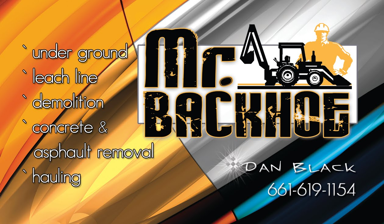 pookies photography  u0026 graphics  mr  backhoe business card
