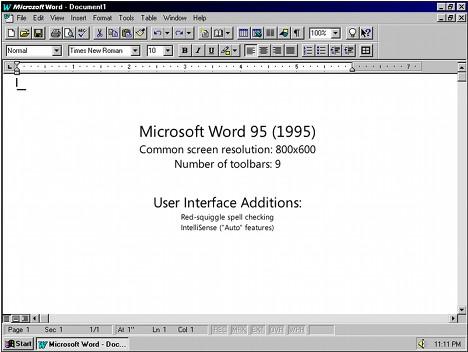 1995 Word para Windows 95, también conocido como Word 7.16 MB de RAM