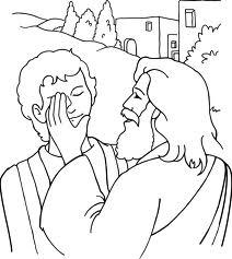 Jesus Sana a un Ciego para colorear