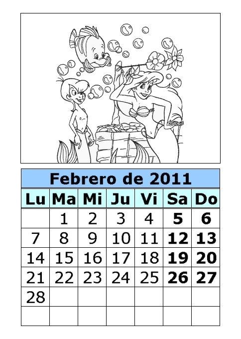 Calendario Mes de Febrero 2011 para colorear