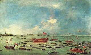 Il Bucintoro naviga verso san Nicolò di Lido, il giorno dell'Ascensione. Francesco Guardi, 1775-1780