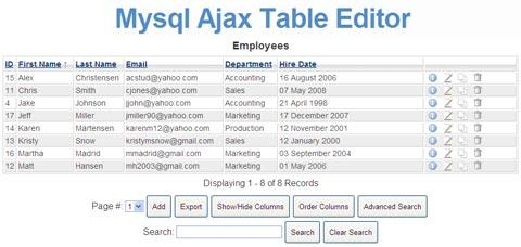 Mysql Ajax Table Editor