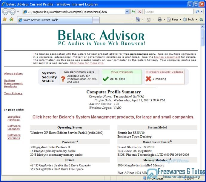 belarc advisor portable download