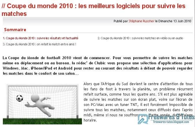 Le site du jour les meilleurs logiciels pour suivre la coupe du monde de football freewares - Resultat coupe du monde 2010 ...