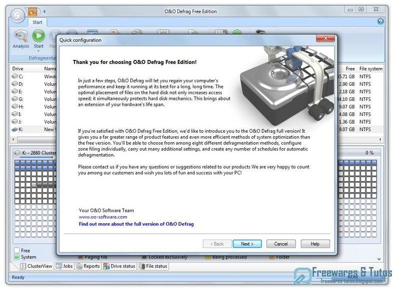o o defrag free edition un logiciel gratuit pour d fragmenter ses disques durs freewares tutos. Black Bedroom Furniture Sets. Home Design Ideas