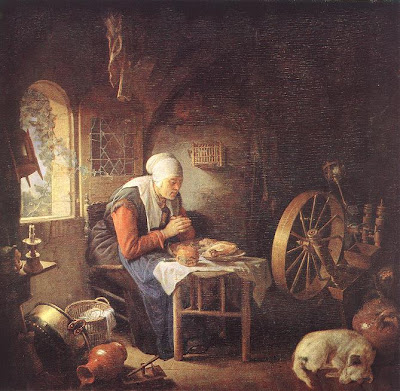 Painting by Gerrit Dou. The Prayer of the Spinner