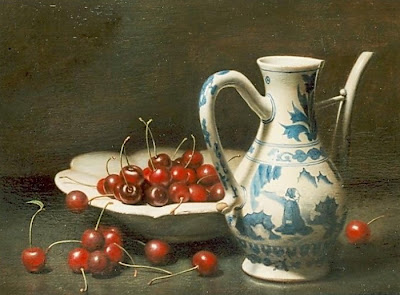 Still Life painting with cherries by Johannes Hendrik Eversen