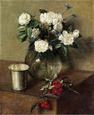 Still Life painting by Henri Fantin-Latour. White Roses and Cherries