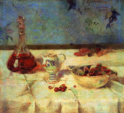 Paul Gauguin. The White Tablecloth. Still Life with Cherries